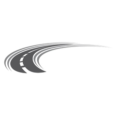 Curving tarred road or highway icon vector