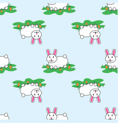 cute lovely cartoon bunny rabbit and carrots vector image