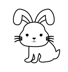 Cute rabbit kawaii style vector