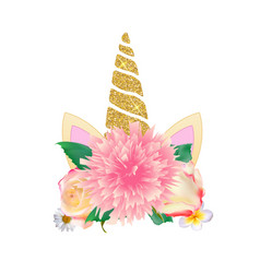 cute unicorn head with flower vector image