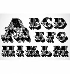 decorative alphabet a m vector image