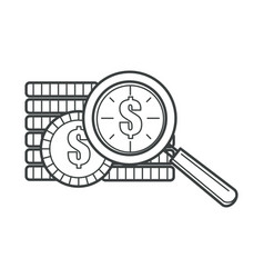dollar coins and magnifying glass zooming tool vector image
