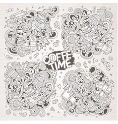 doodle cartoon set tea and coffee designs vector image