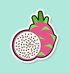 Dragon fruit sticker on blue background colorful vector