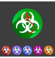 Ebola biohazard flat icon badge vector image