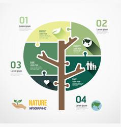 eco tree shape jigsaw banner concept design vector image
