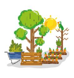 farm harvest pixelated cartoons vector image