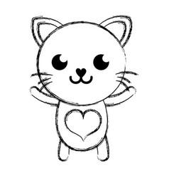 Figure smile cat cute feline animal vector