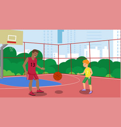 flat father in city park basketball court vector image