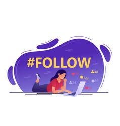Follow hashtag - young woman using laptop social vector