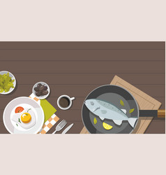 fried egg frying pan and fish vector image