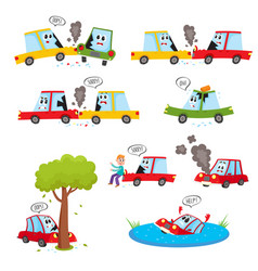 Funny car characters - accident crash collision vector