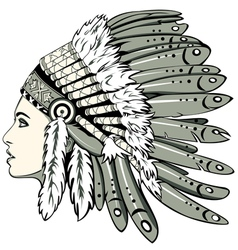 Girl in indian headdress vector image