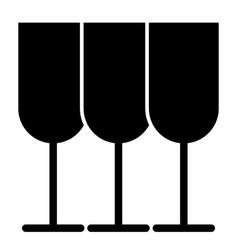Glasses solid icon stemware vector