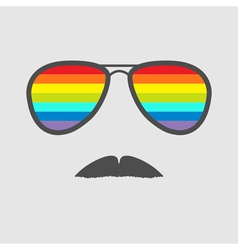 Glasses with rainbow lenses and mustaches Isolated vector image