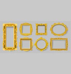Gold floral picture frames vector