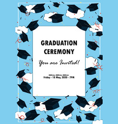 Graduation poster throwing graduation hats in the vector