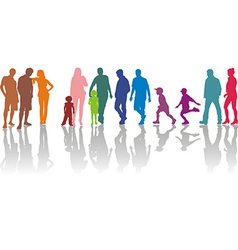 Group of parents with children vector image vector image