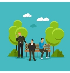 Group of people sitting on a bench in park using vector