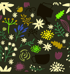Hand drawn floral pattern delicate flowers vector