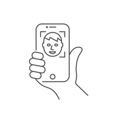 hand holding a smartphone vertical position self vector image