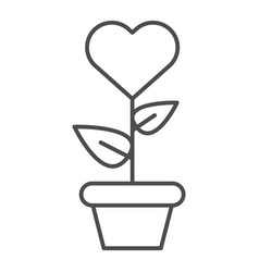 Heart in flowerpot thin line icon heart shaped vector