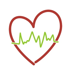 Heart with heartbeat vector
