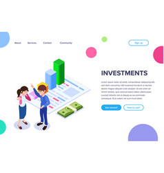 isometric investment concept vector image