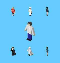 isometric person set of medic policewoman guy vector image