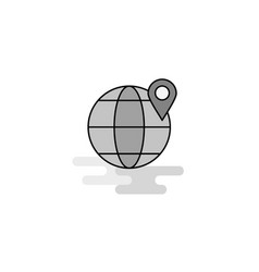 location on globe web icon flat line filled gray vector image