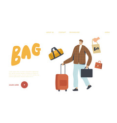 man travel with suitcase landing page template vector image