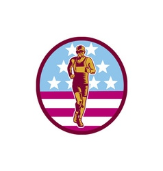 Marathon Runner USA Flag Circle Woodcut vector image vector image