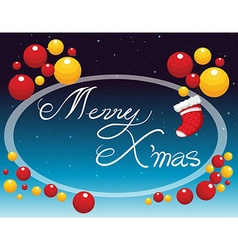 Merry Christmas card with ornaments vector