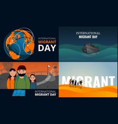 Migrant banner set cartoon style vector