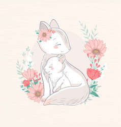 mother and baby animals vector image
