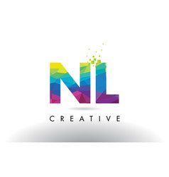 nl n l colorful letter origami triangles design vector image