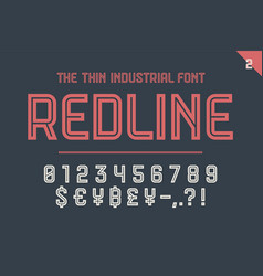 Numeric and symbol font red line vector