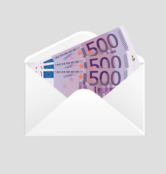 Open envelope and 500 euro bills cash vector