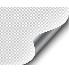 page curl with shadow on blank sheet steel metal vector image