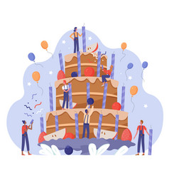 People team decorate birthday cake vector