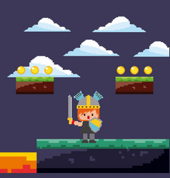 Pixel game warrior with gold coins and landscape vector
