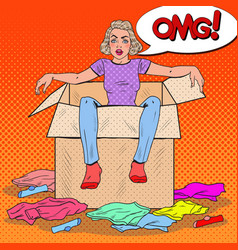 Pop art stressed woman in the box with clothes vector