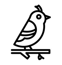 Quail on branch icon outline style vector