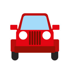 Red jeep car vehicle transport camping vector