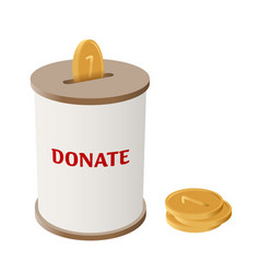 Round donation money box side view vector