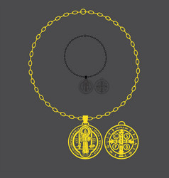 Saint benedict full chain vector