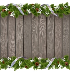 Seamless Christmas Old Board with Paper Snowflakes vector