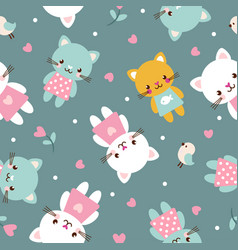 seamless with kittens vector image