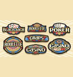set gambling logos vector image