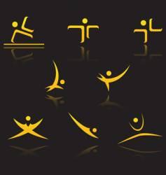 set golden symbols vector image